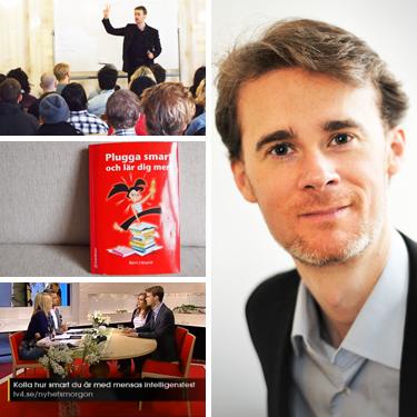 Bilder från föreläsning, boken och medverkan i TV4.